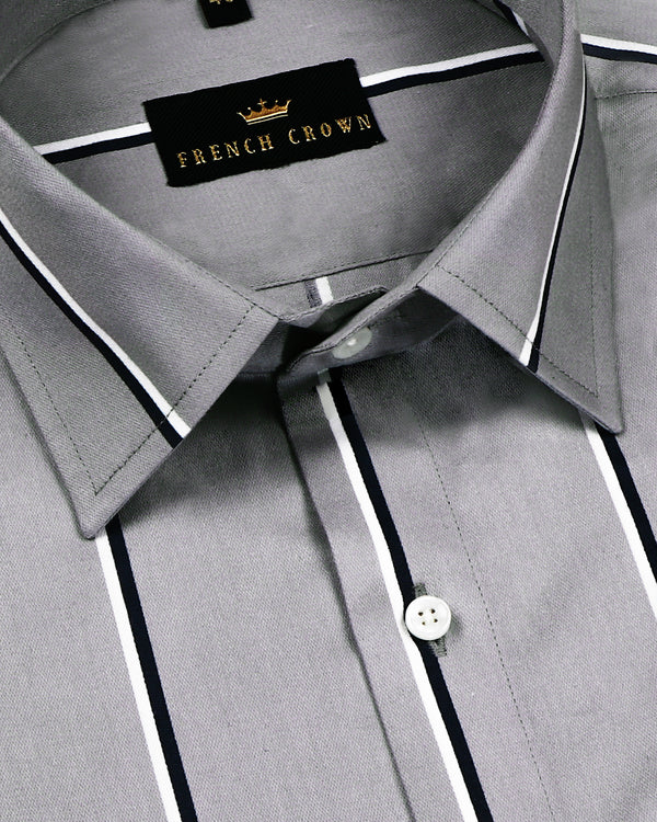 Grey Broad Striped Premium Cotton SHIRT