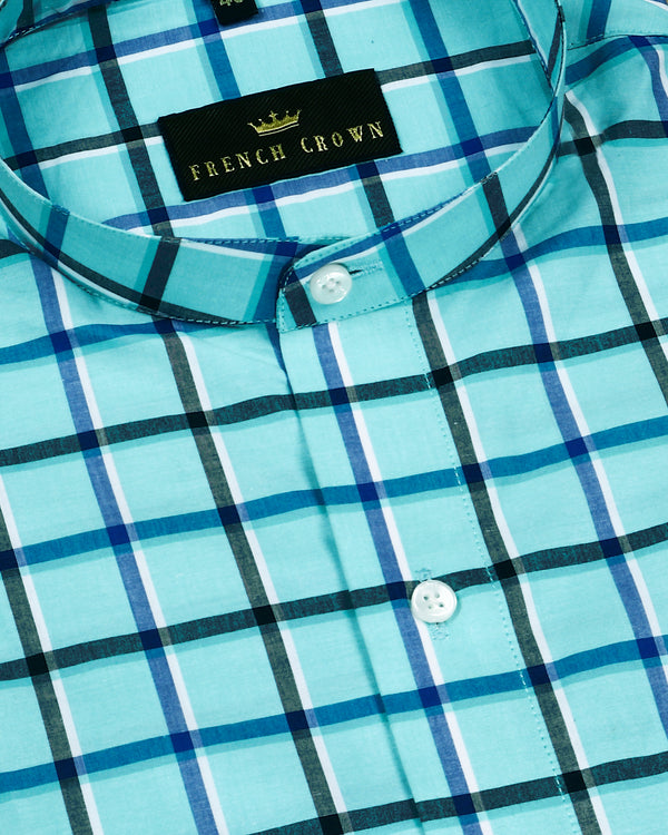 Aqua Windowpane Checked Premium Cotton SHIRT