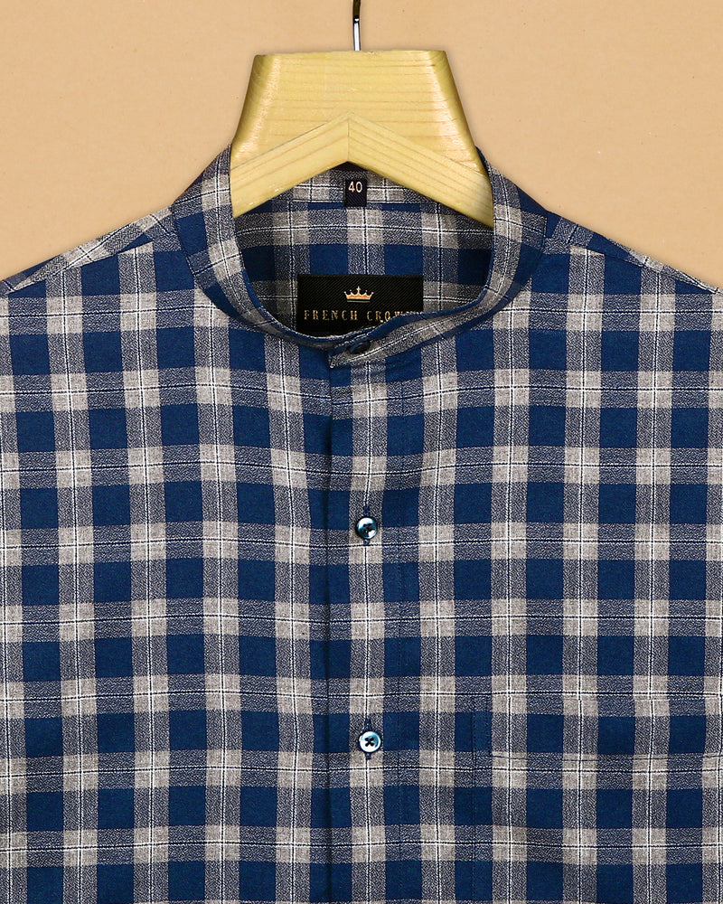 Blue with Brown Checked Cotton shirt