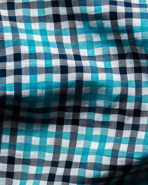 Aqua with Navy and white Checked Premium Cotton SHIRT