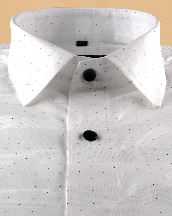 Bright White Dotted jacquard Giza Cotton shirt