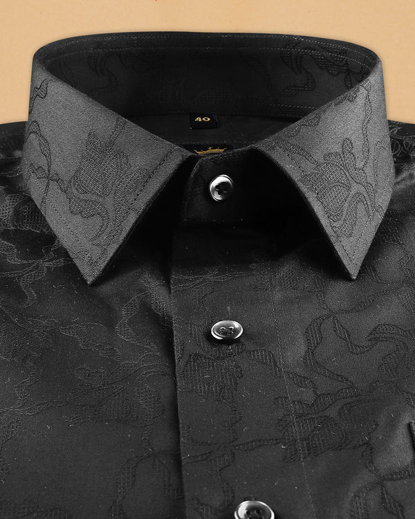 Rich Black Super Soft Flowers and dotted Jacquard Textured Giza Cotton SHIRT