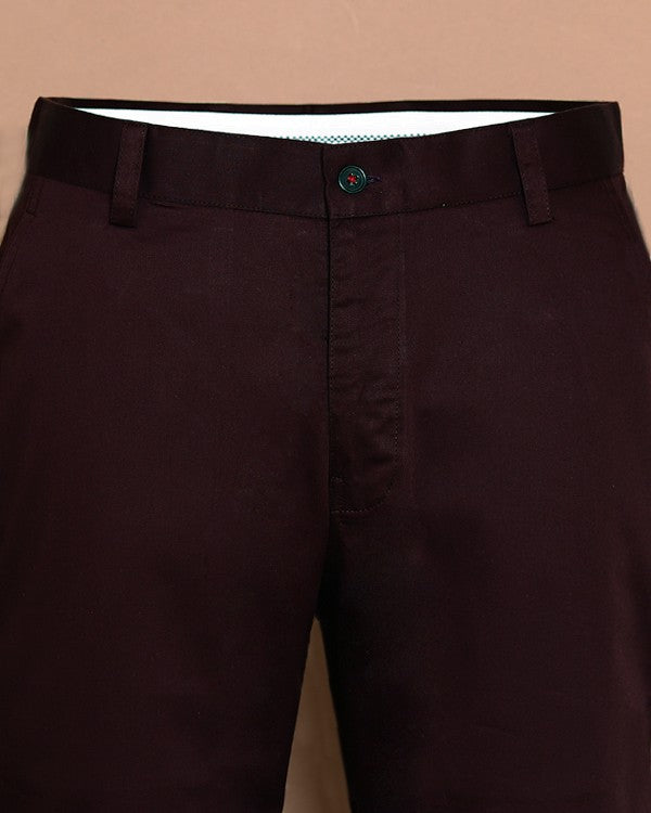 Maroon Regular fit Cotton Chino