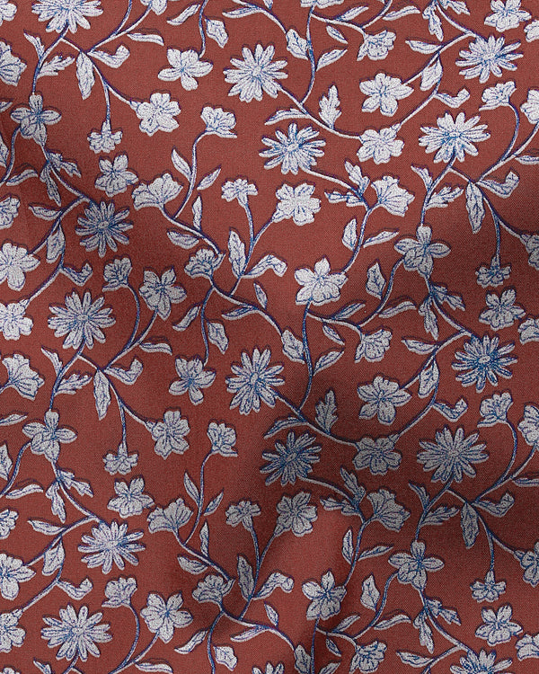 Rust Flower Printed Premium Cotton Shirt