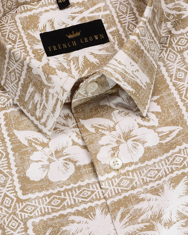 Bone Cream Beach Printed Beach Premium Cotton Shirt