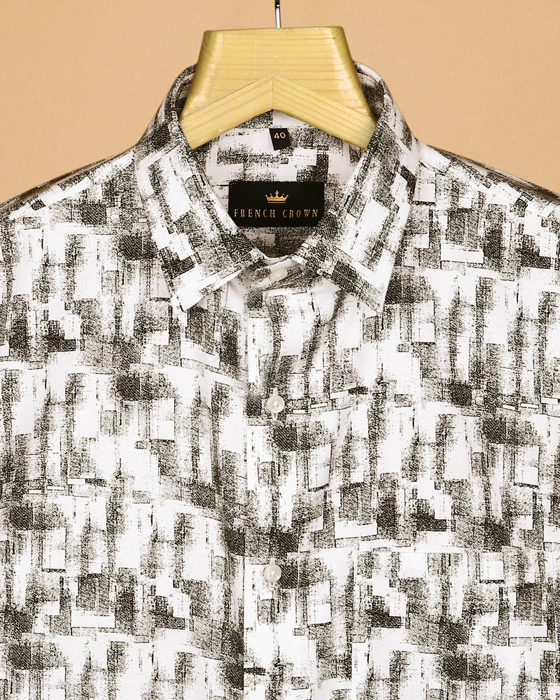 white with Olive Abstract Print Premium Cotton Shirt