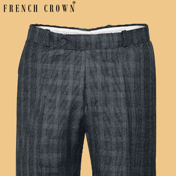 Leather Grey Broad Checked Flat-front Formal Pant