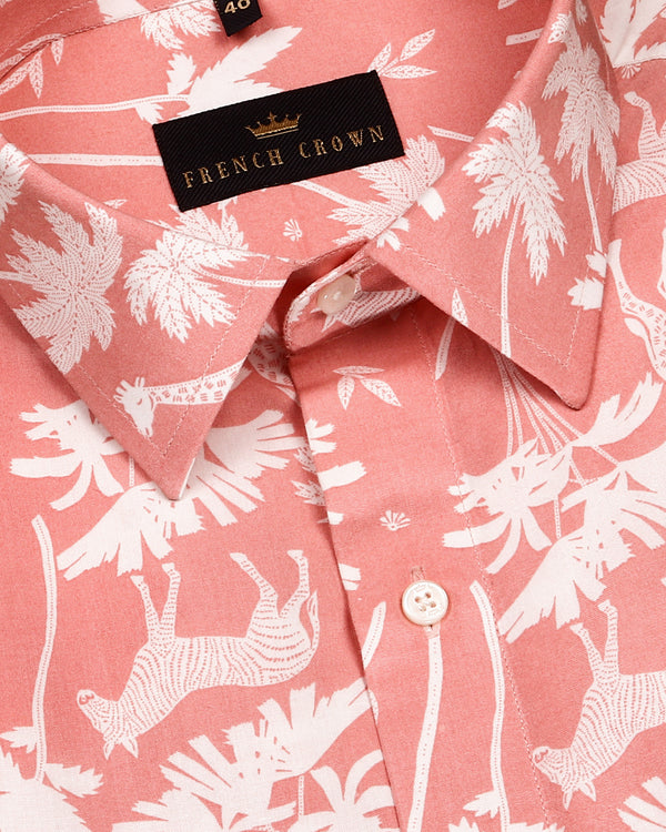 Peach Jungle Print Premium Tencel Shirt