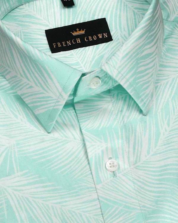 Mint Subdued Print Premium Cotton Shirt