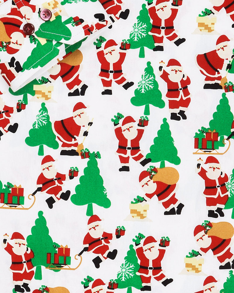 The Dancing Santa Print Premium Cotton Shirt