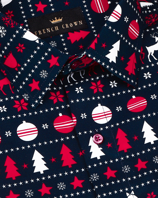 Navy Christmas Print Premium Cotton Shirt