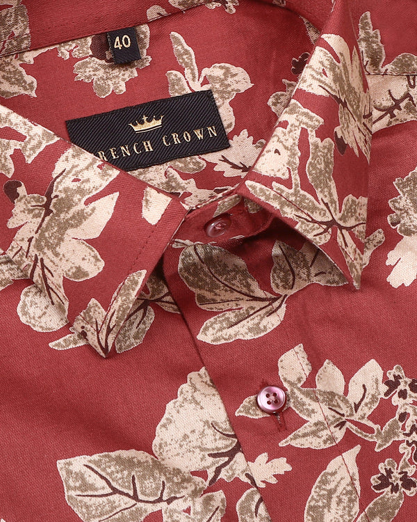 Rust Red Large Scale Flower Printed Shirt
