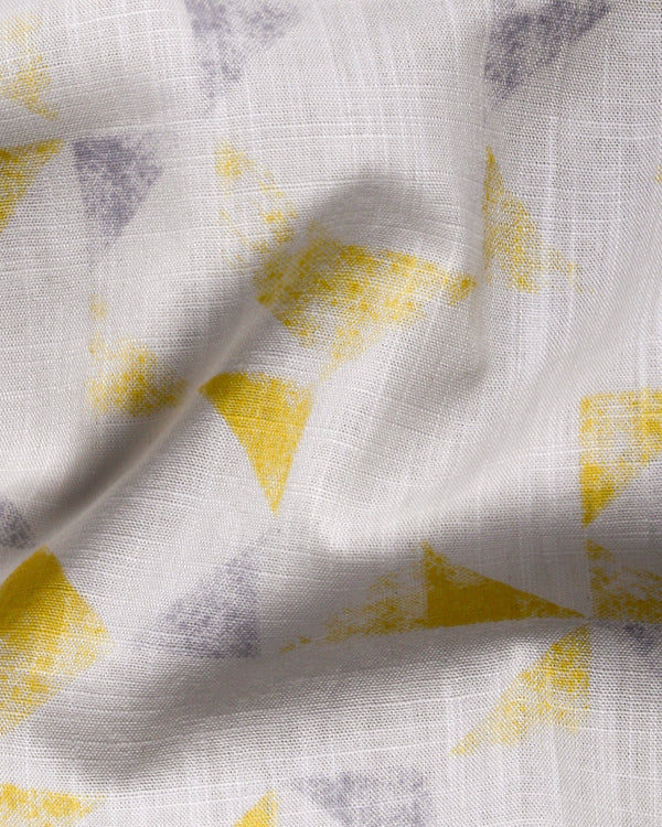 White with yellow and Grey Triangle Print luxurious Linen Shirt