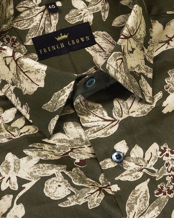 Olive Large Scale Flower Printed Shirt