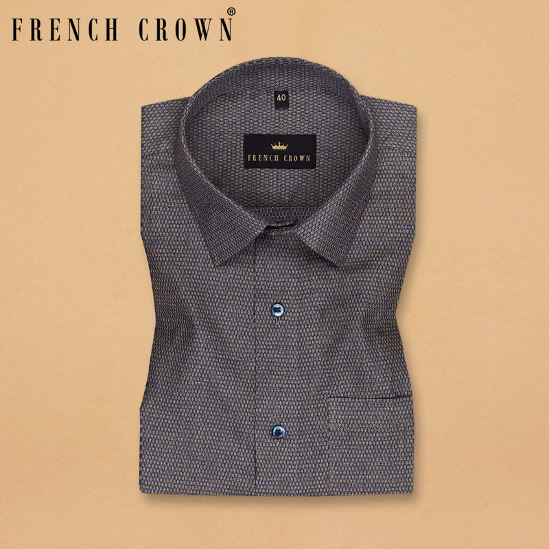 Grey Jacquard Textured Superfine Giza Cotton SHIRT
