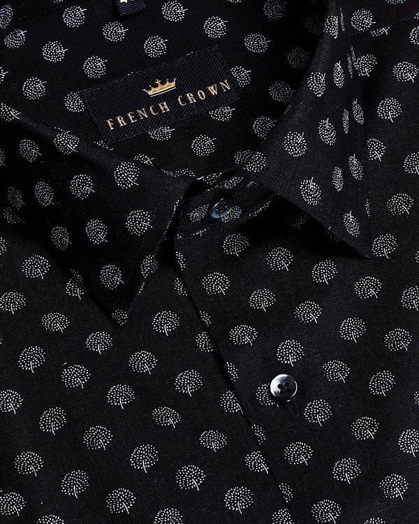 Jade Black Tiny Tree Print luxurious Linen Shirt