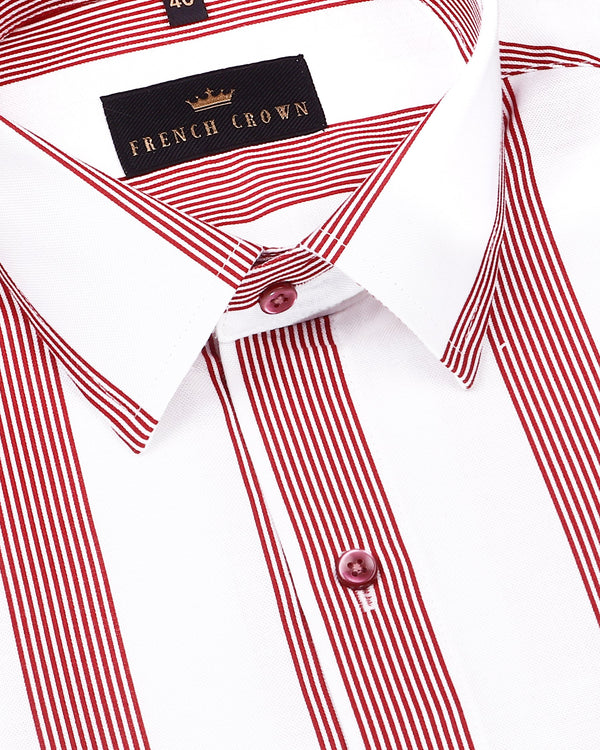 Bright White with Red Broad Striped Royal Oxford Shirt