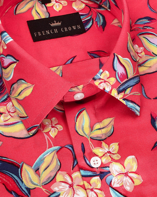 Magenta large Scale Painted Flower Print Tencel Shirt