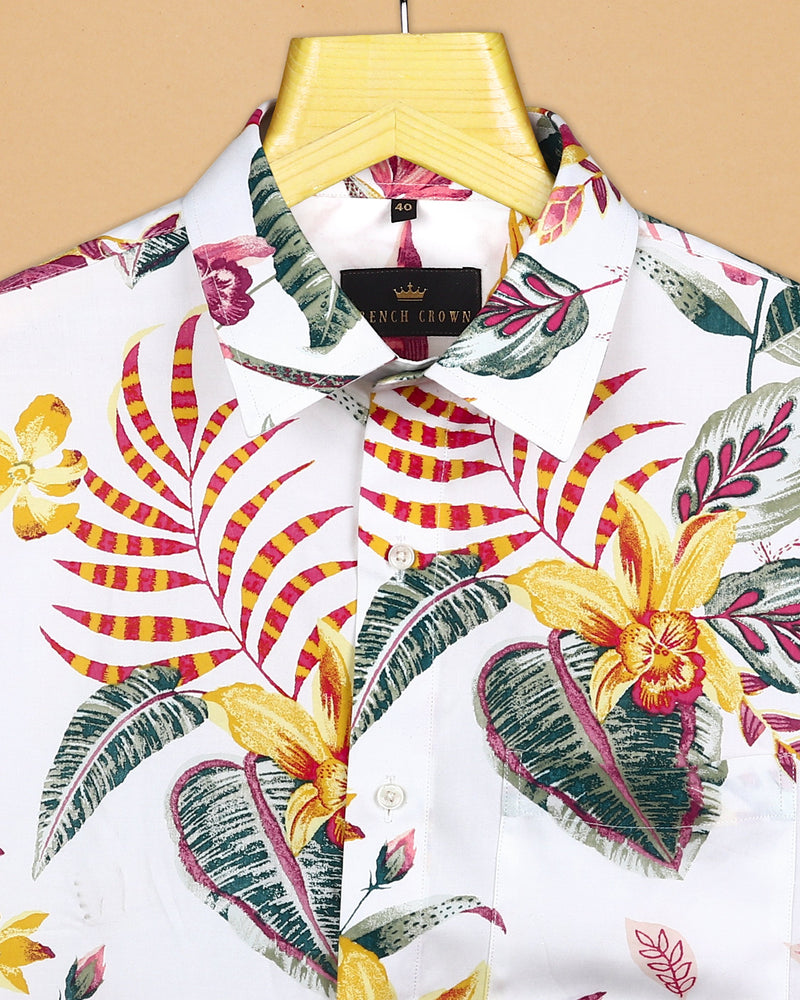 White Base large Scale Painted Colourful Flower Print Tencel Shirt