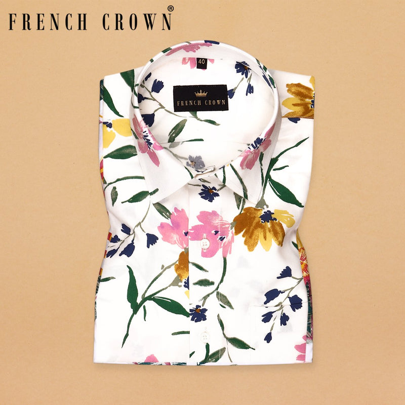 Off-white large Scale Flower Print Tencel Shirt