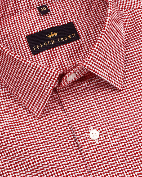 Red with White Micro Checked houndstooth shirt
