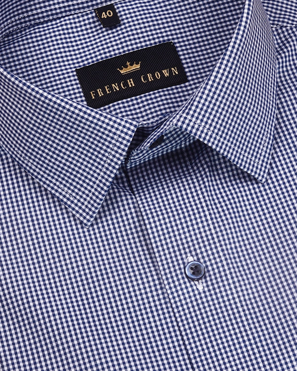 Blue Micro Checked Gingham Shirt