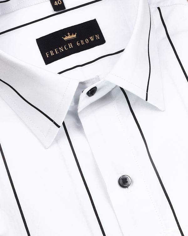 Bright White Broad Striped Premium Cotton Shirt