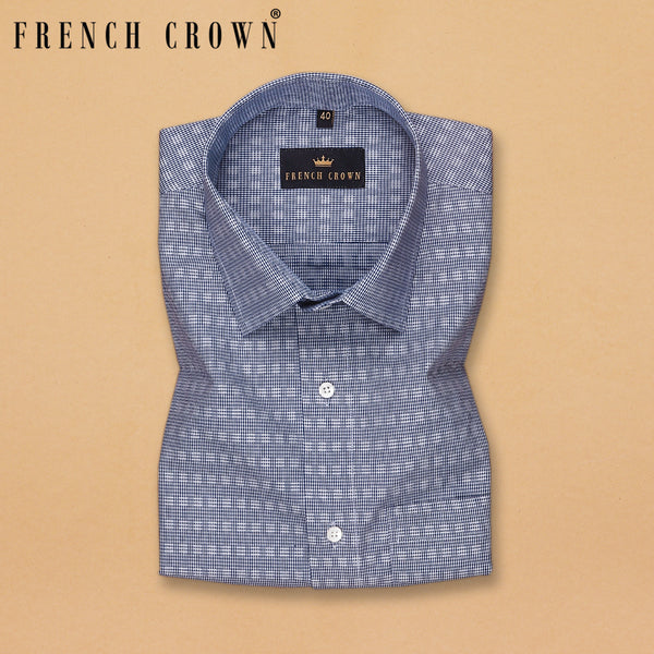Blue Micro Checked Hounstooth Shirt