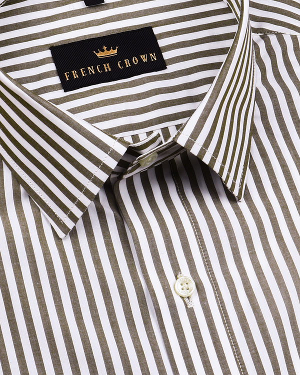 Olive Bengal Striped Premium Cotton Shirt