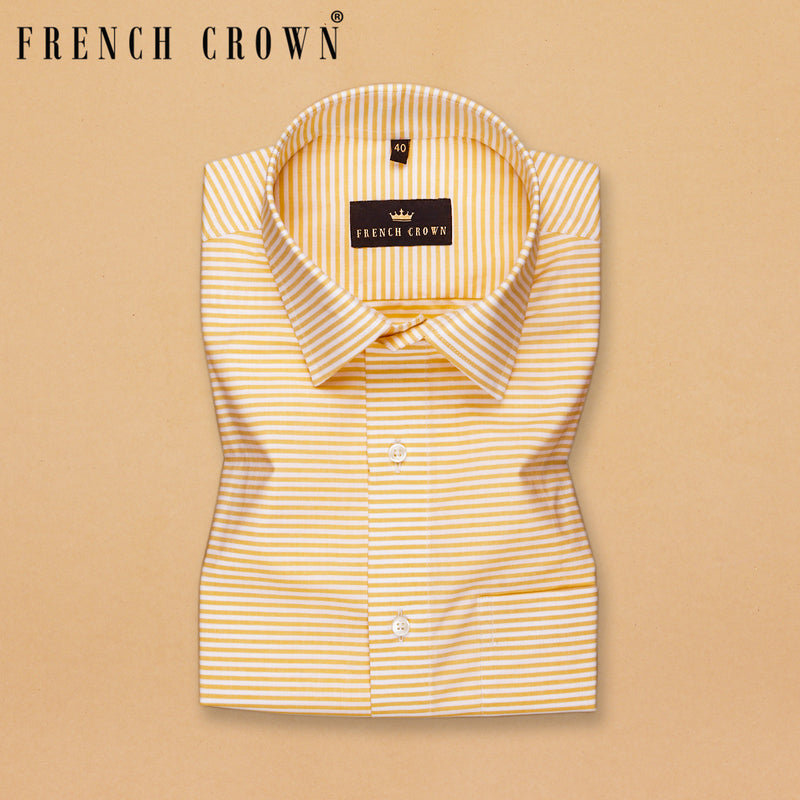 Mustard Horizontal Striped Premium Cotton Shirt