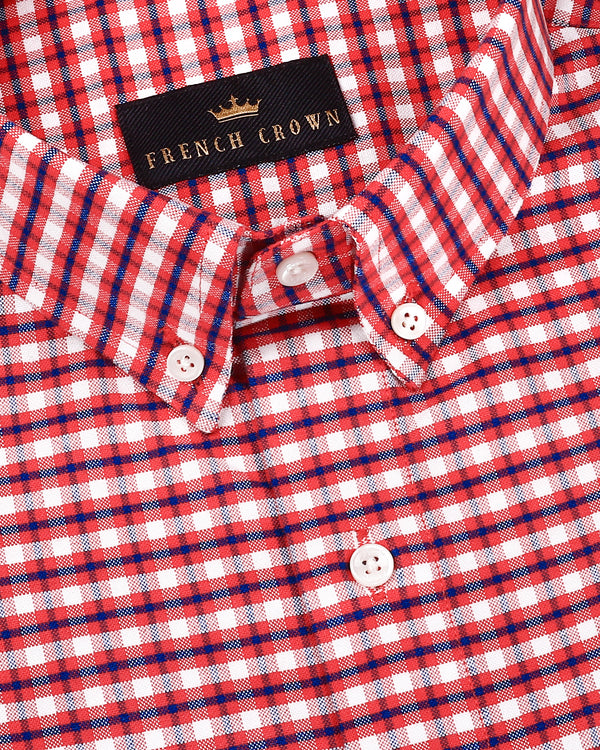 Red with Blue and White Plaid Royal Oxford Shirt