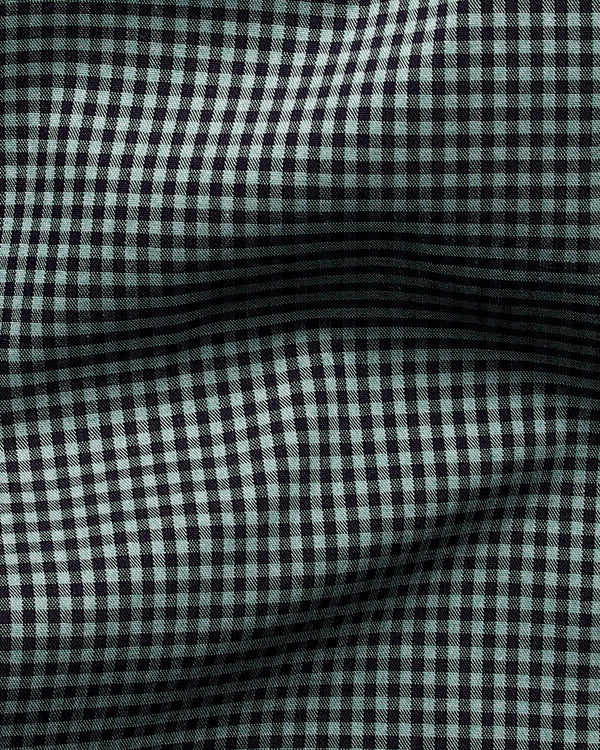 Green with Black Micro Checks Wrinkle Resistant Shirt
