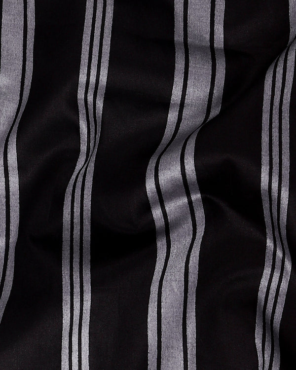 Jade Black with Grey Striped Super Soft Giza Cotton SHIRT