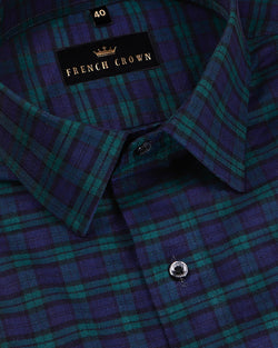 Navy with Green and Black Plaid Flannel Cotton SHIRT