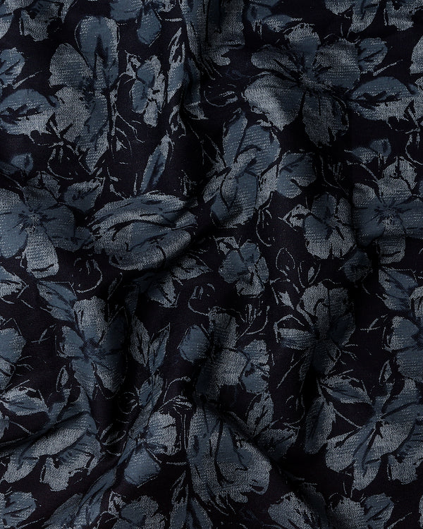 Jade Black Flower Printed Denim Shirt