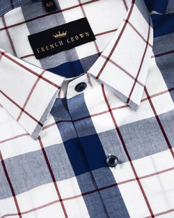 Blue and white checked with red windowpane Premium Cotton SHIRT