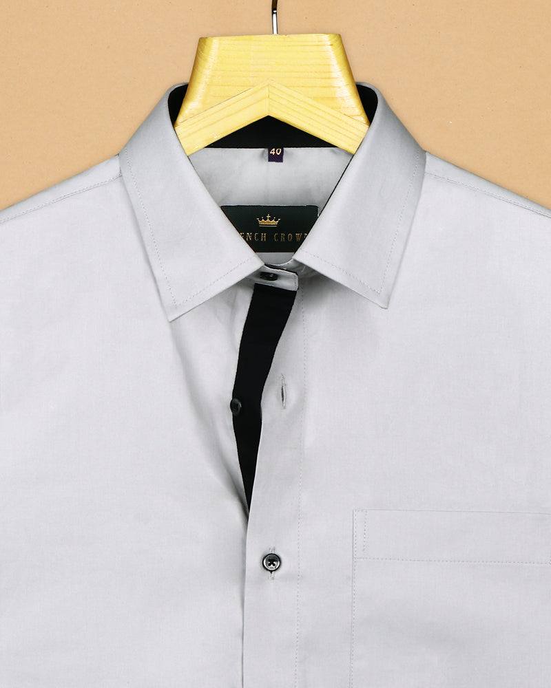 Grey with Black Collar and placket stand Premium Cotton Shirt