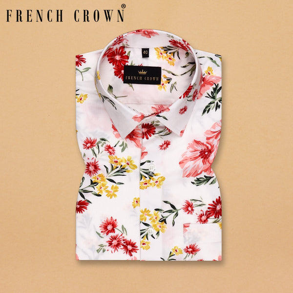 White Colourful large Scale Flower Print Tencel Shirt