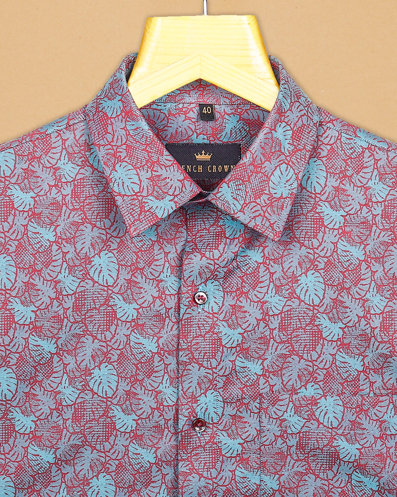 Sky with Pink Leaves Jacquard Textured Giza Cotton SHIRT