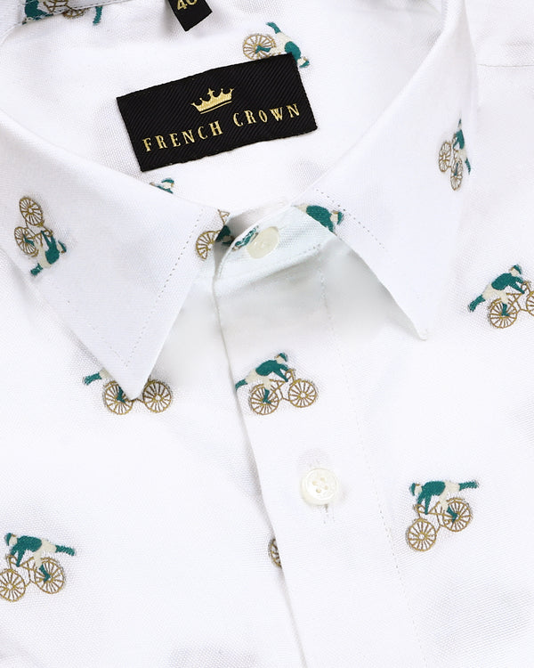 Bright White Embroidered Bicycle Butta Premium Cotton Shirt