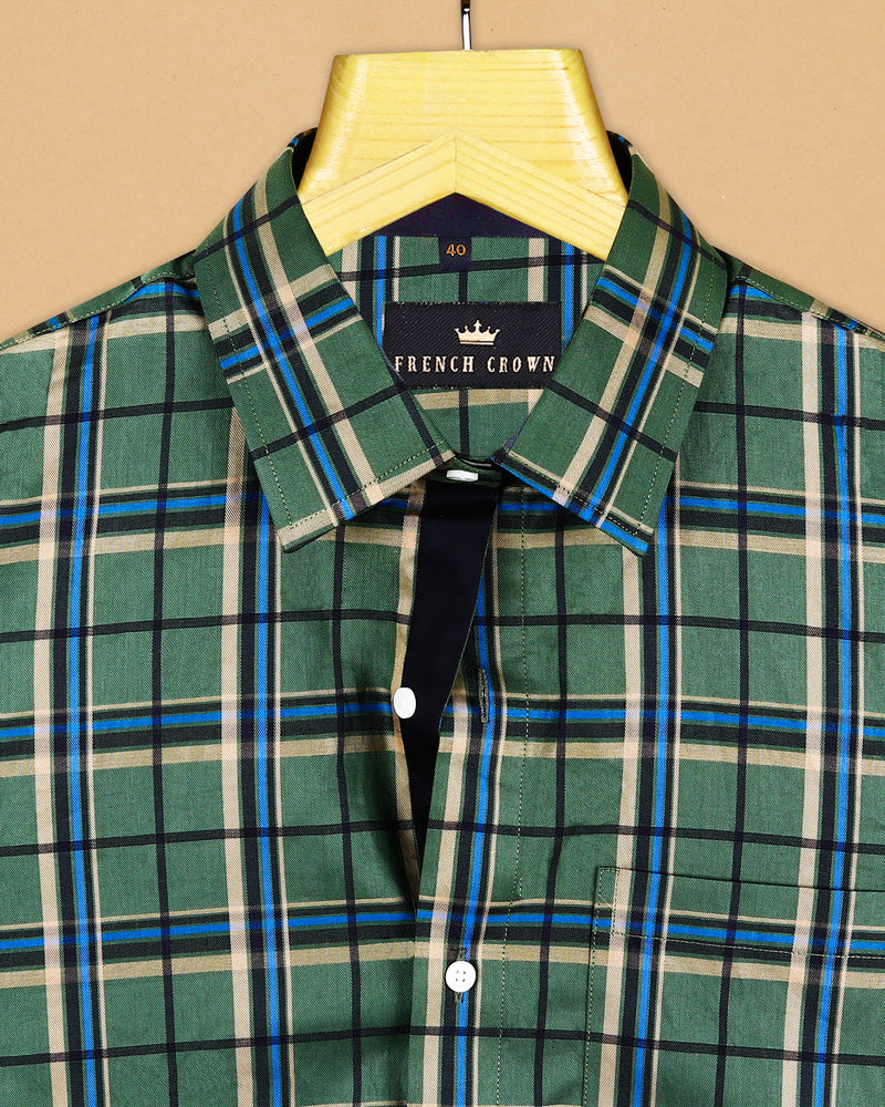 Green with Black, Brown and Blue Checkered Ultra Soft Premium Cotton SHIRT