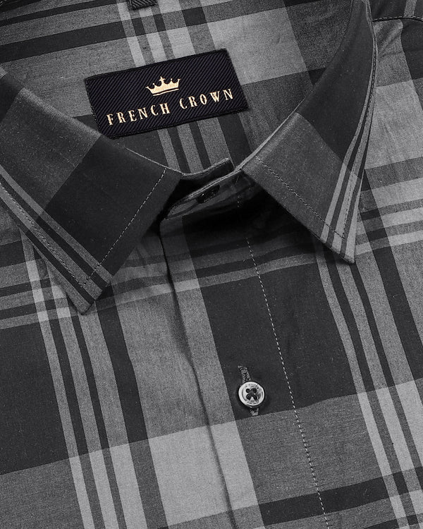 Black and Grey Checked Premium Cotton Shirt