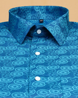 Lord Krishna's Sudarshana tonal Jacquard Textured Giza Cotton SHIRT