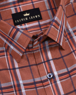 Rust Brown Checked Premium Cotton SHIRT