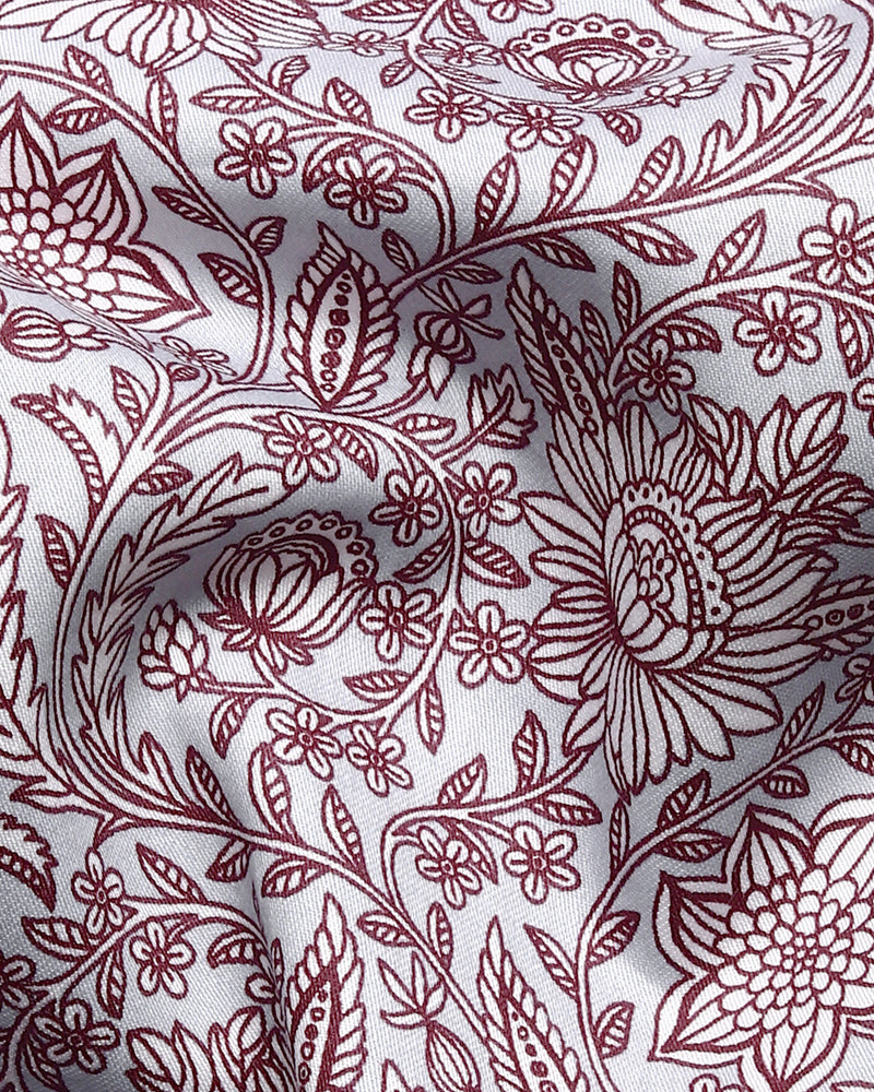 Grey with Maroon Flower valley Print Super Soft Giza Cotton SHIRT