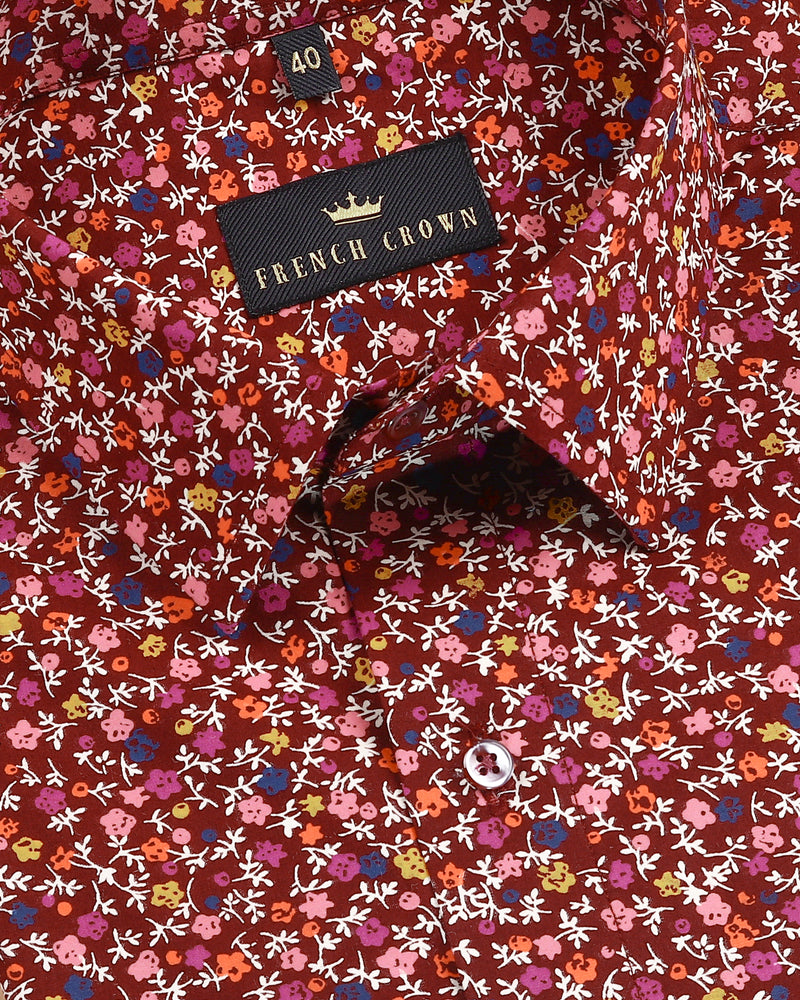 Maroon Vibrant Flower Print Premium cotton Shirt