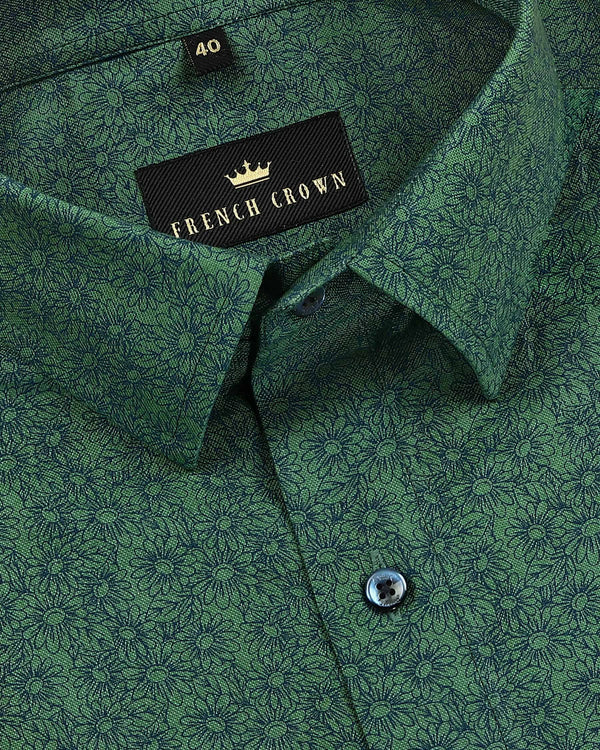 Forest Green Flower Print Royal Oxford Shirt
