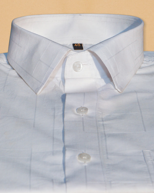 Bright White Super Soft Jacquard Textured Giza Cotton SHIRT