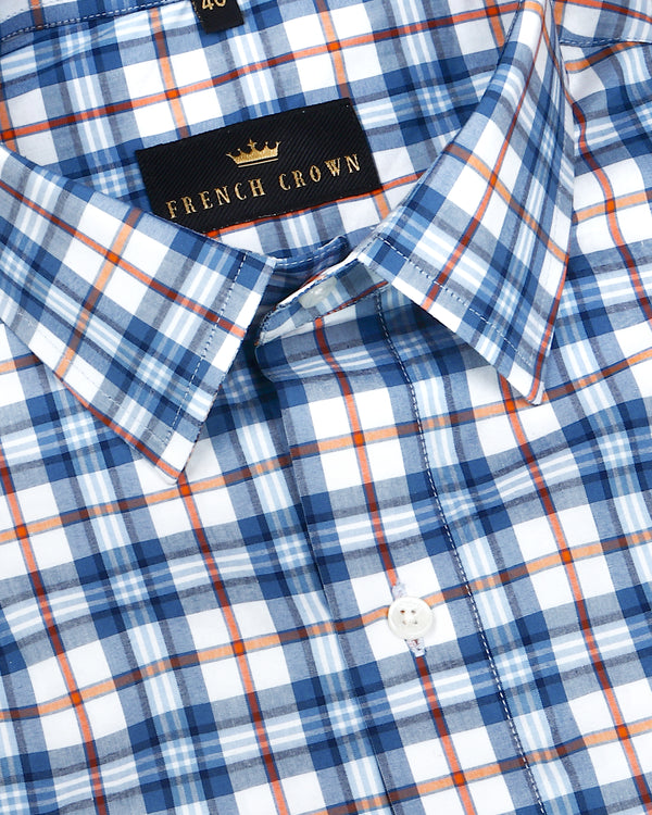 White with Blue and orange Checked Premium cotton Shirt