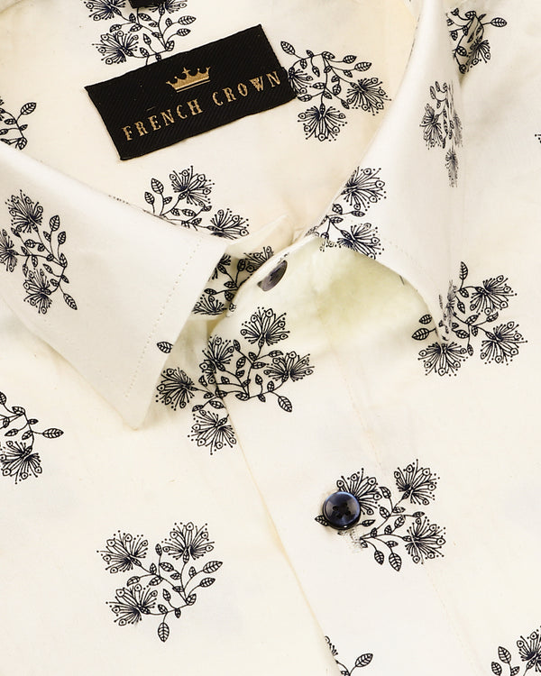Bread Cream Flower Printed Super Soft Giza Cotton SHIRT